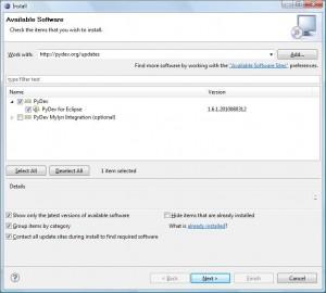 Eclipse - Instalator dla wtyczki Pydev