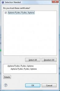 Eclipse - Akceptacja certyfikatu Pydev