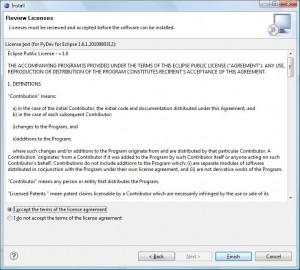 Eclipse - Akceptacja licencji Pydev