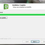 Poprawne zakończenie instalacji plików biblioteki Qt