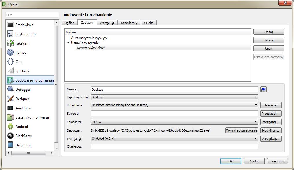 QtCreator - Zestaw narzędzi