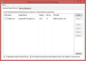 AVD Manager - nowe urządzenie